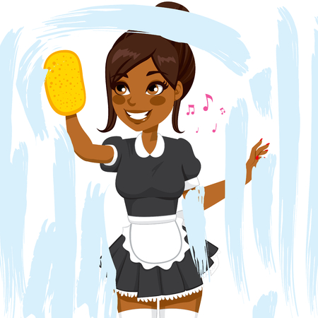 Beautiful African American woman in maid dress working cleaning window with soap sponge