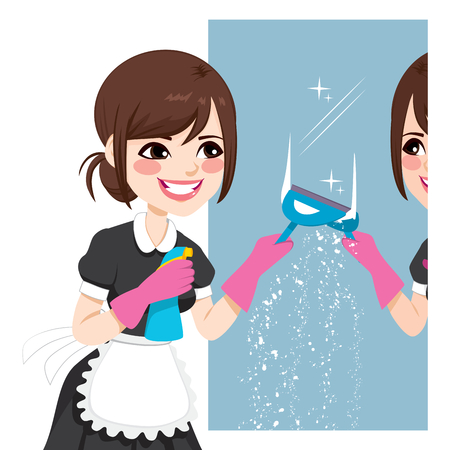 Beautiful Asian woman in maid dress working cleaning mirror using squeegee to wash mirror Vector