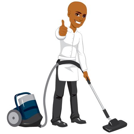 African American mannelijke hotelservice werknemer reiniging met behulp van een stofzuiger