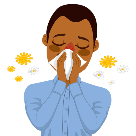 blowing nose: Young sick African American man ill suffering spring allergy using white tissue on nose