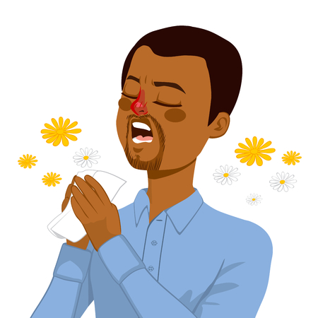 African American young man going to sneeze because of spring allergy making funny face