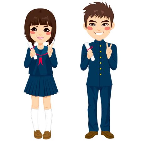 uniformes: Dos estudiantes japoneses adolescentes lindos pie en uniforme escolar con el diploma