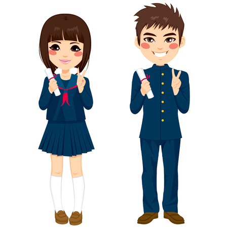 Two cute teenage japanese students standing in school uniform with diploma Vettoriali