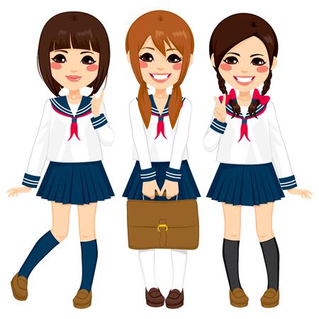 Colegialas japonesas lindas amigos felices juntas en el mismo uniforme de marinero