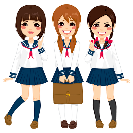 beautiful girl cartoon: Cute japanese school girls friends happy together in same sailor uniform