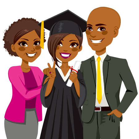 African american family proud and happy of daughter holding diploma on graduation ceremony day Vector