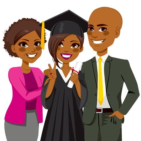 birrete de graduacion: Familia del afroamericano orgulloso y feliz de la hija de la celebración de diploma en el día de la ceremonia de graduación