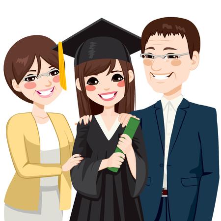 Padres asiáticos de pie orgulloso y feliz de la hija de la celebración de diploma en la graduación ceremonia día Ilustración de vector