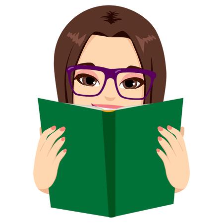 아름 다운 갈색 머리 소녀 즐기는 매우 흥미로운 책을 읽고 일러스트