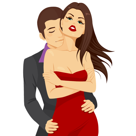 passion couple: Beautiful young attractive couple hugging with passion and love