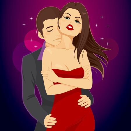 Beautiful young attractive couple hugging and dancing with lust at disco