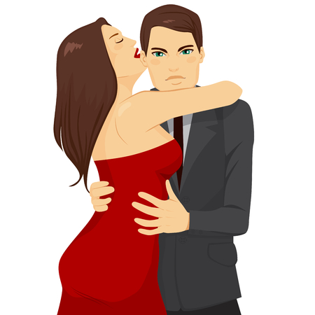 fondness: Attractive young brunette woman in sexy red dress embracing handsome man wearing gray suit Illustration