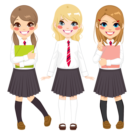 Cute European school girls friends happy together in school uniform Illustration