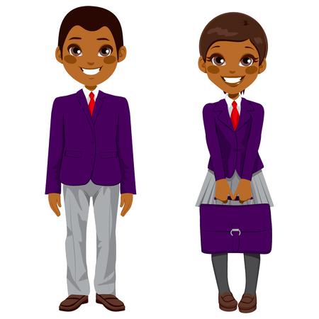 uniforme escolar: Dos estudiantes adolescentes afroamericanos lindos de pie junto con uniforme y la celebración de la maleta