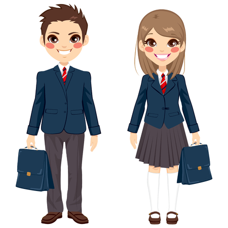 school uniform: Two cute teenage brother and sister students standing together with uniform and holding suitcase