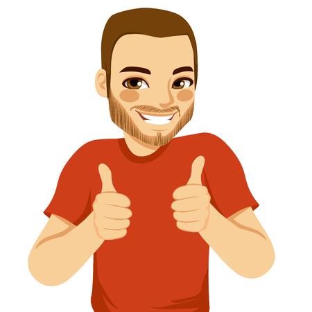 symbol hand: Positive junge Mann die Daumen hoch Zeichen mit beiden H�nden