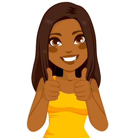 Mulher feliz bonita Africano americano sorrindo fazendo thumbs up sinal com as duas mãos Ilustração