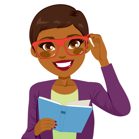 excite: Beautiful African American girl holding glasses and reading book happy smiling looking at front
