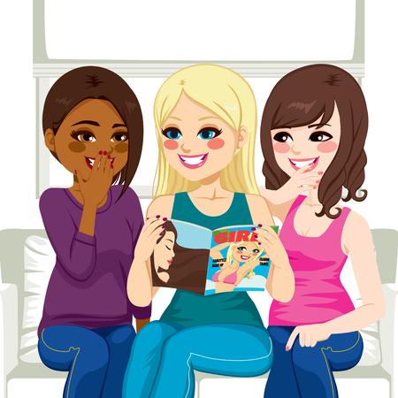 Three beautiful young women reading fashion and gossip magazine chatting and having fun Vector
