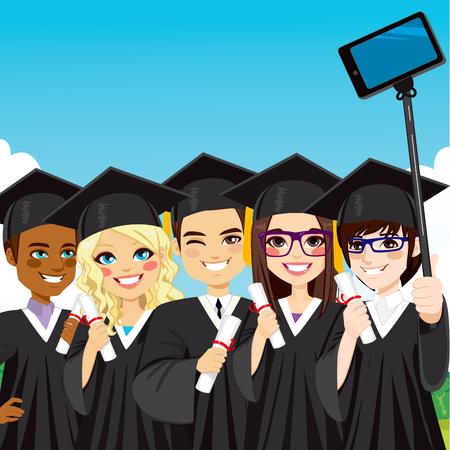 birrete de graduacion: Grupo de j�venes de estudiantes que toman Autofoto foto con el tel�fono inteligente y Autofoto palo en el d�a de graduaci�n Vectores