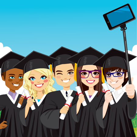Young group of students taking selfie photo with smartphone and selfie stick on graduation day Ilustração
