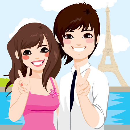 asian couple: Young Asian couple enjoying honeymoon in Paris with Eiffel Tower in background