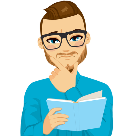 Attractive brown haired man with glasses focused reading interesting book with hand on chin Иллюстрация