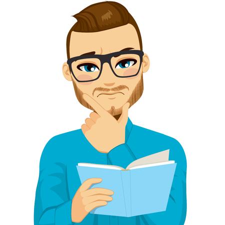 összpontosított: Vonzó barna hajú férfi szemüveg összpontosított olvasás érdekes könyvet kézzel állon