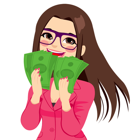 Young brunette businesswoman really happy enjoying and holding big fan of green money with both hands