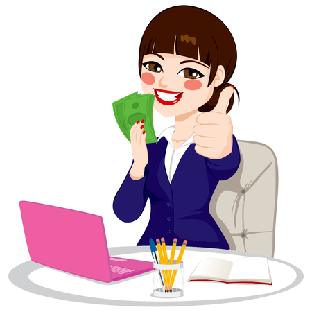 Successful businesswoman with green banknote money fan making thumbs up gesture sitting on office desk with laptop