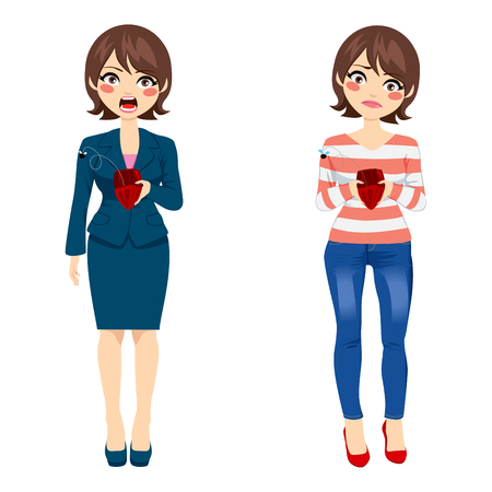 cartoon money: Attractive young woman with two different outfit styles showing empty purse concept