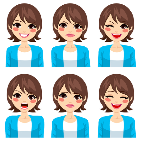 lachendes gesicht: Attraktive junge brünette Frau, die auf sechs verschiedenen Gesichtsausdrücke gesetzt Illustration