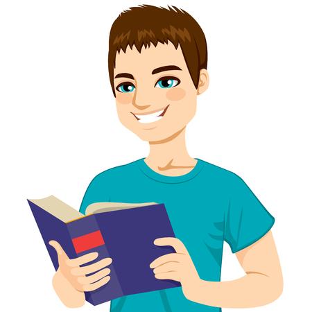 libro caricatura: Hombre de pelo marrón joven feliz disfrutando lee el libro grande gruesa Vectores