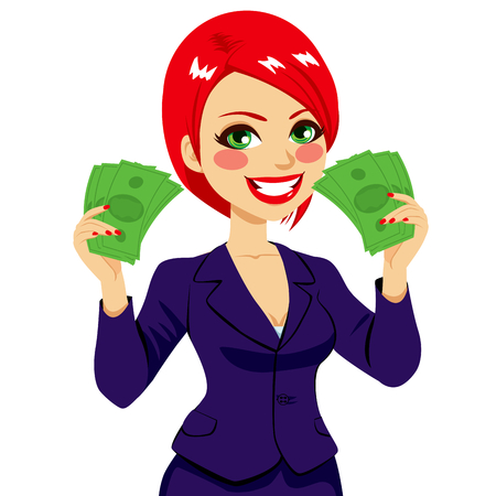 Beautiful happy businesswoman holding a green money bill fan on each hand showing success concept