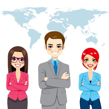 Berzeugte erfolgreiche berufliche Geschäftsleute globale Team stehen mit den Armen vor Welt Karte der Erde Hintergrund gekreuzt Standard-Bild - 38677428