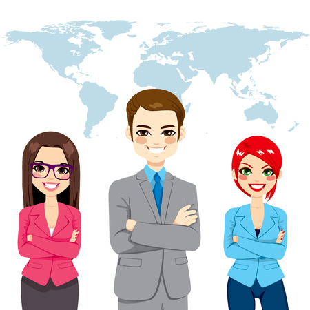 Confident successful professional businesspeople global team standing with arms crossed in front world earth map background 向量圖像