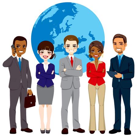 전면 세계 지구 글로브 배경에 자신감 표정으로 서 성공한 기업인의 글로벌 다중 민족적인 팀