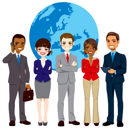Global multi ethnic team of successful businesspeople standing with confident look in front world earth globe background Ilustração