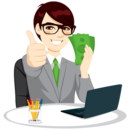 computer cartoon: Successful businessman with green banknote money fan making thumbs up gesture sitting on office desk with laptop