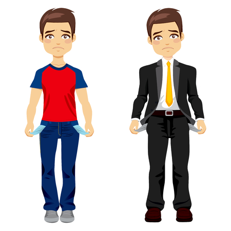 unsuccessful: Attractive young man in two different outfit styles showing empty pockets concept