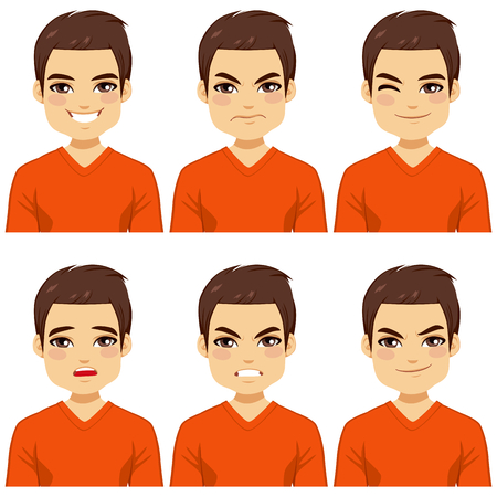 making face: Attractive brown haired young man on six different face expressions collection