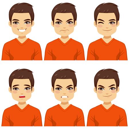 face: Attractive chevelure brune jeune homme sur six différents collection expressions du visage