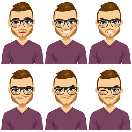 Atractivo hombre de pelo marrón inconformista joven con gafas en seis colección expresiones faciales diferentes