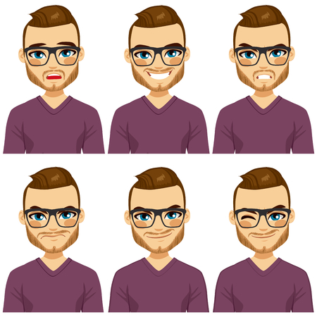 cartoon human: Attractive brown haired young hipster man with glasses on six different face expressions collection Illustration
