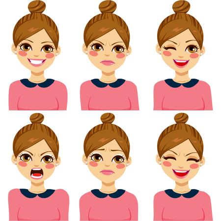 lachendes gesicht: Attraktive hellbraune behaarte junge hipster Frau auf sechs unterschiedlichen Gesichtsausdruck Satz Illustration