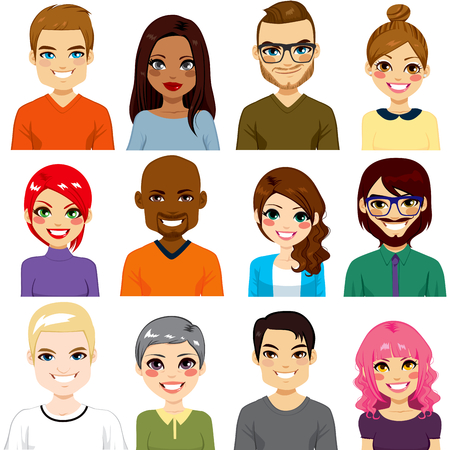 pretty woman face: Collection of twelve different people avatar portraits from diverse ethnicity and age Illustration