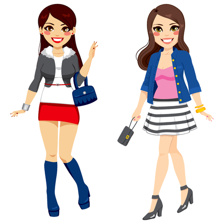 full body woman: Two young beautiful fashionable girl friends on sweet trendy clothes Illustration