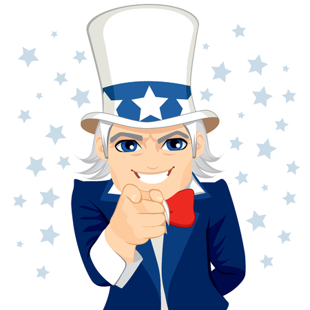 sam: Old man disguised as Uncle Sam representing wants you concept with pointing hand and stars on background