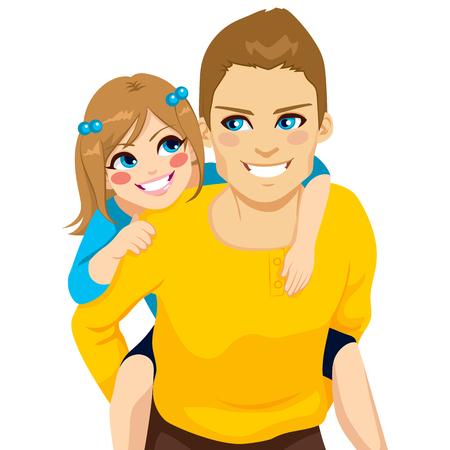 おんぶは、一緒に幸せな笑顔に娘とハンサムな若いお父さん  イラスト・ベクター素材