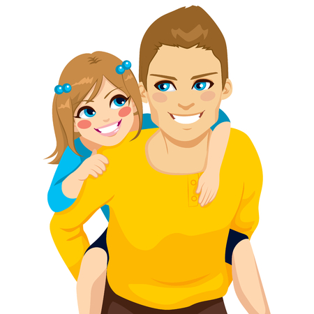 piggyback ride: Handsome young dad with his daughter on piggyback ride smiling happy together